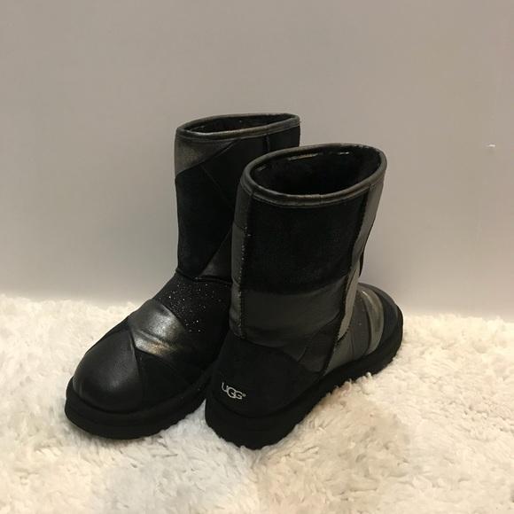 3ef1ec84e85 UGG Classic Glitter Patchwork Black Boots